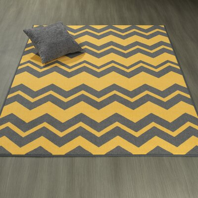 Claren Chevron Waves Gray/Yellow Area Rug Rug Size: 33 x 5