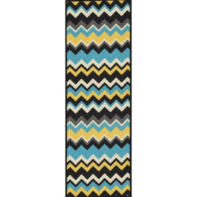 Barry Chevron Waves Blue/Yellow Area Rug Rug Size: Runner 18 x 411