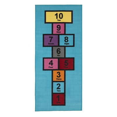 Childrens Garden Educational Hopscotch Area Rug Color: Blue