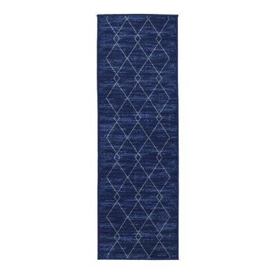 Vathylakas Diamond Trellis Blue Area Rug Rug Size: Runner 18 x 411
