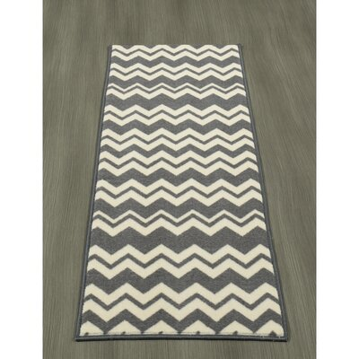 Claren Chevron Waves Gray/Cream Area Rug Rug Size: Runner 18 x 411