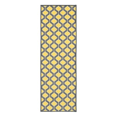 Vathylakas Trellis Gray/Yellow Area Rug Rug Size: Runner 18 x 411