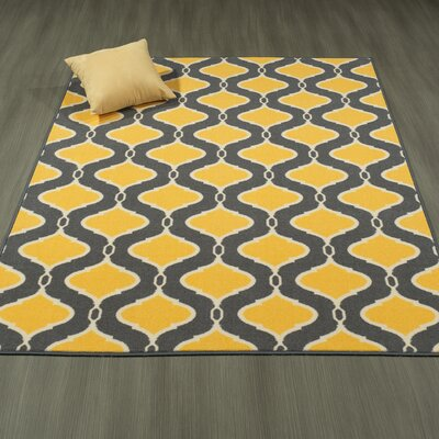 Heikkinen Trellis Gray/Yellow Area Rug Rug Size: 5' x 6'