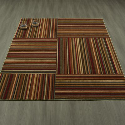 Rocio Striped Brown/Red Area Rug Rug Size: 5 x 6