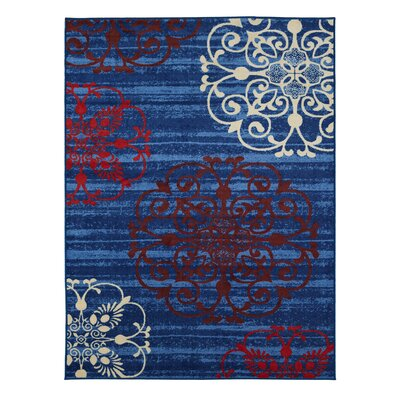 Tailynn Modern Floral Blue/Red Area Rug Rug Size: 82 x 910