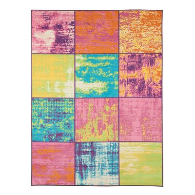 Rocio Boxes Pink/Blue/Yellow Area Rug Rug Size: 33 x 5