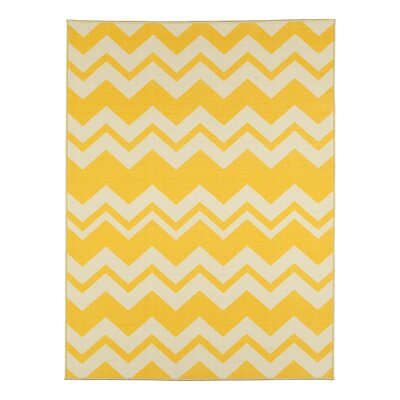 Barry Chevron Waves Yellow Area Rug Rug Size: 5 x 6