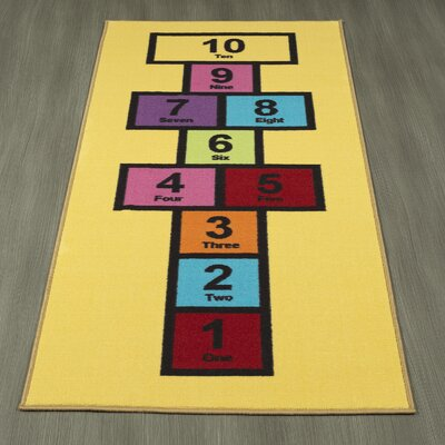 Childrens Garden Educational Hopscotch Area Rug Color: Yellow