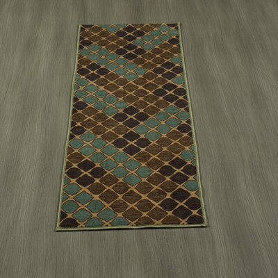 Rocio Squares Aqua/Brown Area Rug Rug Size: Runner 18 x 411