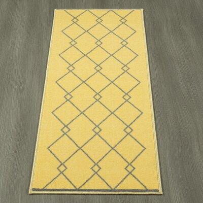 Heikkinen Diamond Trellis Gray/Yellow Area Rug Rug Size: Runner 18 x 411