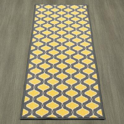 Heikkinen Trellis Gray/Yellow Area Rug Rug Size: Runner 18 x 411