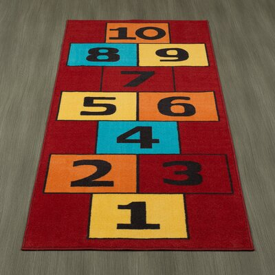 Childrens Garden Educational Hopscotch Children Area Rug Color: Red
