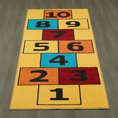 Childrens Garden Educational Hopscotch Children Area Rug Color: Yellow