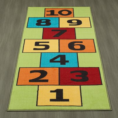Childrens Garden Educational Hopscotch Children Area Rug Color: Green