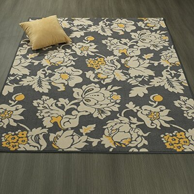 Tailynn Floral Gray/Cream Area Rug Rug Size: 5 x 6