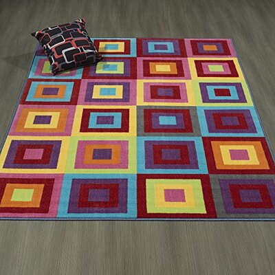 Regan Non-Slip Modern Geometric Red/Purple/Yellow Area Rug Rug Size: 82 x 910