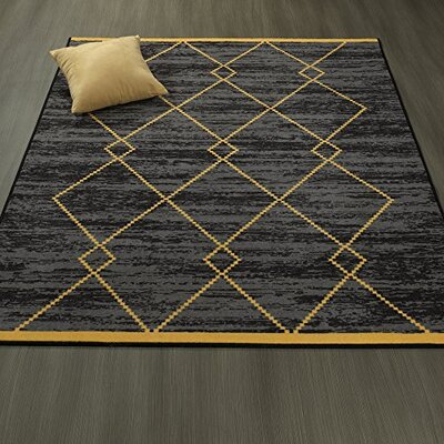 Heikkinen Diamond Trellis Black/Yellow Area Rugs Rug Size: 5 x 6