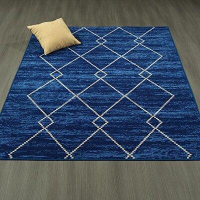Heikkinen Diamond Trellis Blue Area Rug Rug Size: 82 x 910
