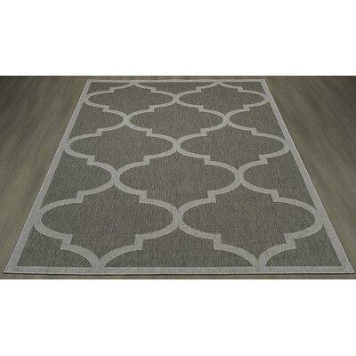 Emma Morroccan Trellis Power Loom Dark Gray Indoor/Outdoor Area Rug Rug Size: 53 X 73