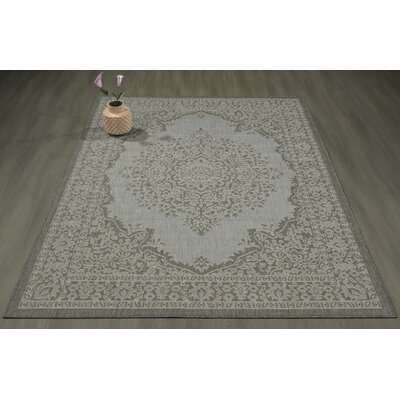 Genoa Damask Medallions Power Loom Dark Gray Indoor/Outdoor Area Rug Rug Size: 53 X 73