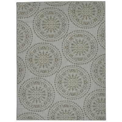 Genoa Damask Medallions Power Loom Gray Indoor/Outdoor Area Rug Rug Size: 53 X 73
