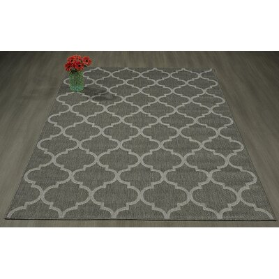 Emma Trellis Power Loom Dark Gray Indoor/Outdoor Area Rug Rug Size: 53 X 73