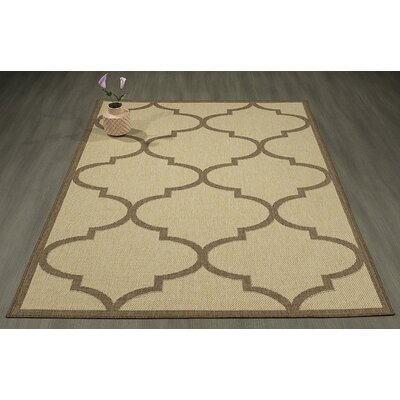 Emma Morroccan Trellis Power Loom Beige Indoor/Outdoor Area Rug Rug Size: 27 X 70