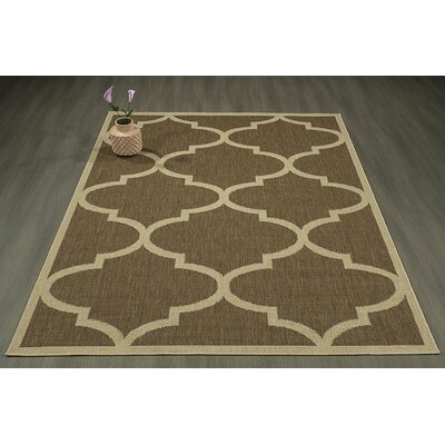 Emma Morroccan Trellis Power Loom Brown Indoor/Outdoor Area Rug Rug Size: 27 X 70