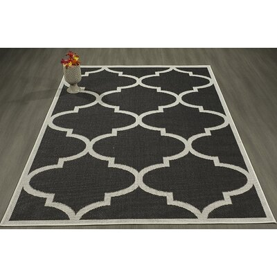 Emma Morroccan Trellis Power Loom Black Indoor/Outdoor Area Rug Rug Size: 53 X 73