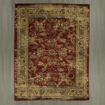 Lamberth Distressed Floral Red/Yellow Area Rug Rug Size: 7 10 x 9 10
