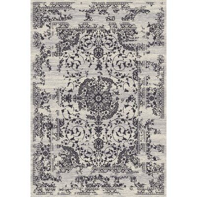 Lamberth Distressed Medallion Rectangle Gray Area Rug Rug Size: 5 3 x 7