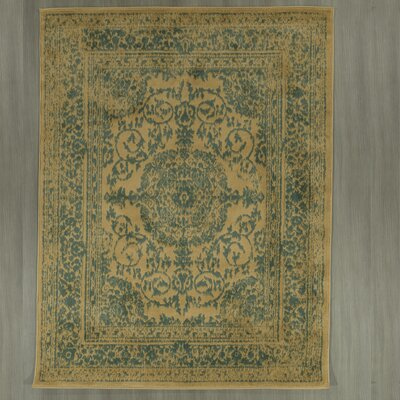 Lamberth Distressed Medallion Green/Yellow Area Rug Rug Size: 5 3 x 7