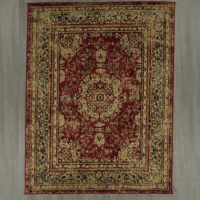 Lamberth Distressed Medallion Red/Yellow Area Rug Rug Size: 7 10 x 9 10