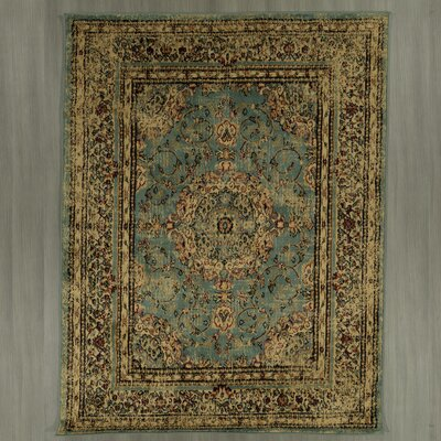 Lamberth Distressed Medallion Blue/Yellow Area Rug Rug Size: 5 3 x 7
