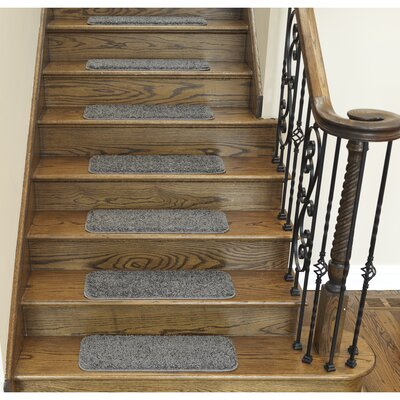 Soft Solid Non Slip Shag Carpet Gray Stair Tread Quantity: Set of 14