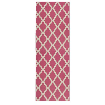 Staunton Machine Woven Hot Pink Area Rug Rug Size: Rectangle 18 x 411
