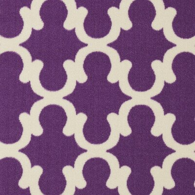 Pink Contemporary Purple Moroccan Trellis Area Rug Rug Size: 33 x 5