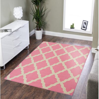 Pink Contemporary Pink Morroccan Trellis Area Rug Rug Size: 33 x 5