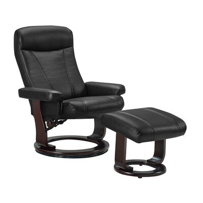 Hamilton Manual Recliner with Ottoman Upholstery: Midnight Black