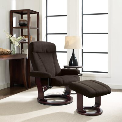 Hamilton Manual Recliner with Ottoman Upholstery: Chocolate Brown