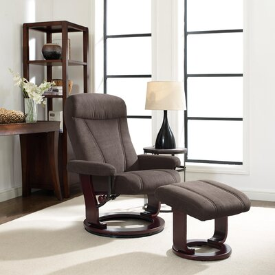 Hamilton Manual Recliner with Ottoman Upholstery: Smoke Gray