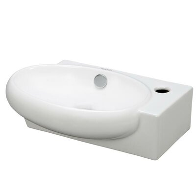Ceramic 15 Wall Mount Bathroom Sink with Overflow