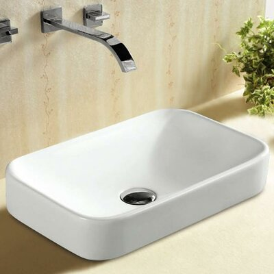 Porcelain Curved Rectangular Vessel Bathroom Sink