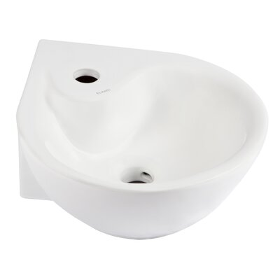Ceramic 14 Corner Bathroom Sink with Overflow