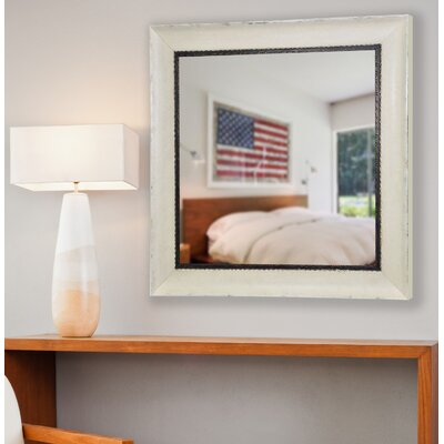 Audrianna Marie Jaded Ivory Square Wall Mirror Size: 35.5