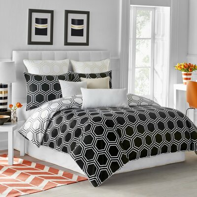 Hexagon Duvet Cover Size: King, Color: Black Onyx
