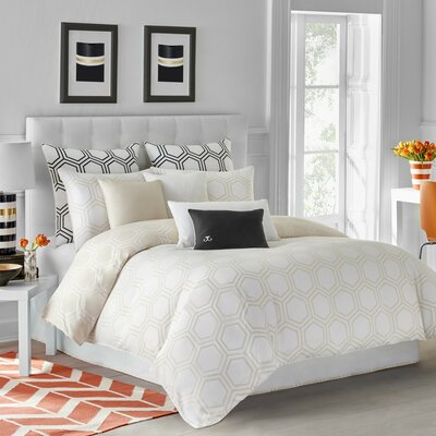 Hexagon Duvet Cover Size: King, Color: Parchment Beige