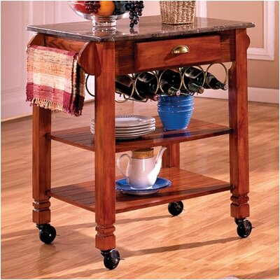 Bernards Kitchen Cart with Marble Top - Kitchen Island - Portable Kitchen Islands Shop