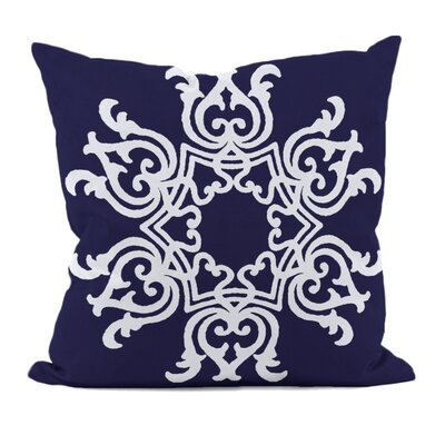 Floral Motifs Throw Pillow Size: 18 H x 18 W, Color: Spring Navy