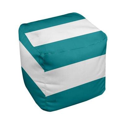 E By Design Stripe Pouf Ottoman - Upholstery Color: Lake Blue